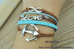 Anchor & Infinity Wish and Love bracelet  Brown wax by Richardwu, $5.99