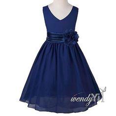 New Girl Flower Sleeveless Chiffon Wedding Bridesmaid Communion Prom Party Dress