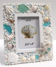 Sea Glass Whiate x 5 Picture Frame - Beach Cottage Decor Sea Glass Crafts, Sea Glass Art, Seashell Crafts, Beach Crafts, Sea Glass Jewelry, Seashell Picture Frames, Seashell Frame, Glass Picture Frames, Starfish