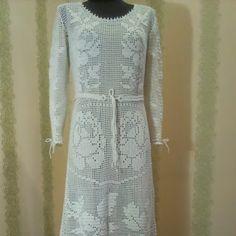 Платье в пол, шелковая подкладка с вязаной каймой, мерсеризованый индийский хлопок. Связано на заказ