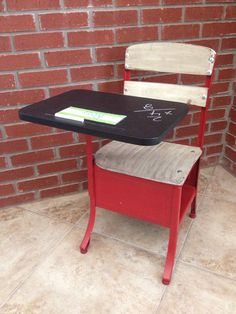 Child's School Desk with a Chalkboard Painted Desk Top.