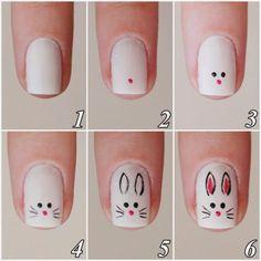 nail art tutorial / nail art designs + nail art + nail art designs for spring + nail art videos + nail art designs easy + nail art designs summer + nail art diy + nail art tutorial Easter Nail Designs, Easter Nail Art, Animal Nail Designs, Diy Nails, Cute Nails, Trendy Nails, Bunny Nails, Nagellack Design, Minimalist Nails