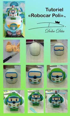 robocar poli By Dolce Dita Fondant Toppers, Fondant Cakes, Cupcake Cakes, Fondant Recipes, Cake Decorating Techniques, Cake Decorating Tutorials, 3d Cake Tutorial, Robot Cake, Robocar Poli