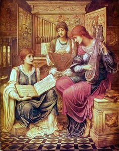 books0977:  The Music of a Bygone Age (1890). John Melhuish Strudwick. Oil on canvas. Dulcimer, Lute, Organ.