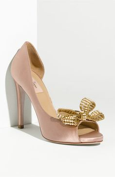 """Valentino Pearl Couture Bow d'Orsay Pump  that bow is a little intense, but love this color. called """"rose cream"""""""