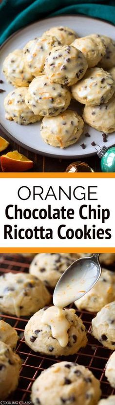 Orange Chocolate Chip Ricotta Cookies - One of my all time favorite Christmas cookies! Perfectly soft and full of that irresistable fresh orange and dark chocolate flavor. Sure to be a hit at your next Christmas party! via Jaclyn {Cooking Classy} Holiday Baking, Christmas Baking, Christmas Cookies, Christmas Fudge, Christmas Time, Köstliche Desserts, Delicious Desserts, Dessert Recipes, Plated Desserts