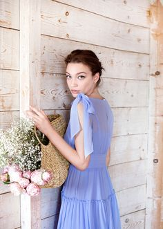 This dress is beautifully cut from lightweight silk, displaying a fitted, high waistband and a loose skirt. The bow at the shoulder adds a sense of ease and spontaneity. Blue Dresses, Bow, Silk, Elegant, Shoulder, Skirts, Summer, Beauty, Women