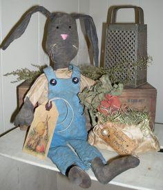 Primitive Black Rabbit Easter Spring Doll Henry and His carrot bag epattern pattern