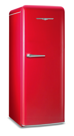 For those seeking a small retro-look fridge for the kitchen... try this one - Northstar by Elmira Stove Works. It's only 24 inches wide and little over five feet tall, but holds everything you need, and even comes with an optional draft beer system!