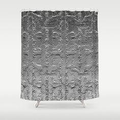Embossed metal shower curtain