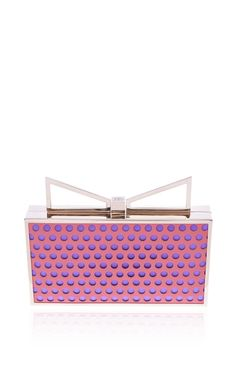 Peach And Violet Perforated Lady Me Clutch by Sara Battaglia for Preorder on Moda Operandi