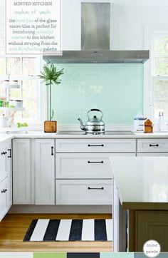 Mint Green Kitchen Splashback (Photography by Aimee Herring, Filipacchi Publishing)