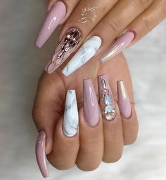8 Fantastic Pink Nail Designs Glitter Color Combos 2019 : Have a look! Tumblr Acrylic Nails, White Acrylic Nails, Best Acrylic Nails, Nails Tumblr, Marble Acrylic Nails, Cute Acrylic Nail Designs, Pink Nail Designs, Nails Design, Glam Nails
