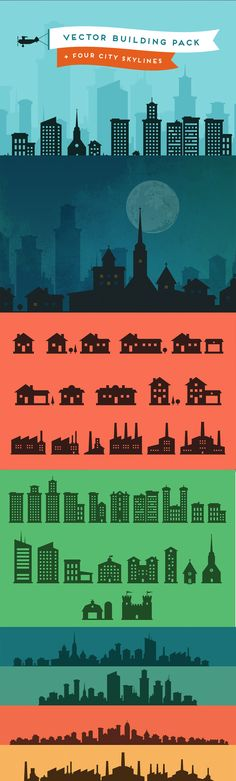 Beautiful yet simple idea - Lil Squid's Lil Buildings.  Vector silhouettes.  Would love to try with Milwaukee, Chicago, DC as a start