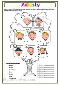 Family Members Worksheet, Family Tree Printable For Kids, English Worksheet…