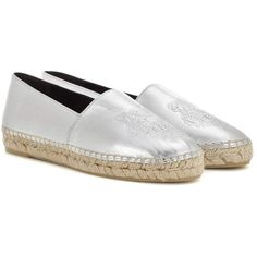 Kenzo Embossed Metallic Leather Espadrilles (319 AUD) ❤ liked on Polyvore featuring shoes, sandals, silver, leather shoes, metallic leather sandals, espadrille sandals, leather sandals and real leather shoes