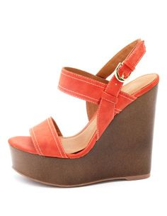 2-Band Wooden Wedge Sandal
