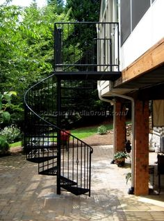 Image result for black metal circular staircase outdoor