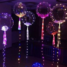 LED Light Up Balloons,Colourful Flashing Transparent Clear Balloons with Tissue Paper Tassels and Feathers,Ideal for Parties,Birthdays and Wedding Decorations, 5 Pack by QPEY Light Up Balloons, Clear Balloons, Balloon Lights, Bubble Balloons, Helium Balloons, String Lights, Air Balloon, Balloon Ideas, Birthday Party Decorations