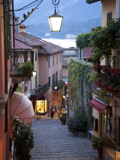 Shopping Street at Dusk in Bellagio, Lake Como, at Lombardy, Italy, Europe