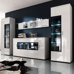 Corona Contemporary Room Set In White High Gloss Living Room Tv, Living Room Furniture, Home Furniture, Furniture Design, European Furniture, Italian Furniture, Contemporary Furniture, Contemporary Sectionals, White Rooms