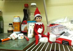 Elf on the Shelf Ideas –  Elf is Making Marshmallow Snowmen plus FREE Elf Notes. Funny Ideas, Creative Ideas. Details on Frugal Coupon Living.