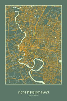 Bangkok, Thailand Map Print by Rae Nordico, stylised city maps.   Bangkok - the most visited city and the hottest.