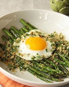 Pan-Roasted Asparagus with Crispy Fried Egg