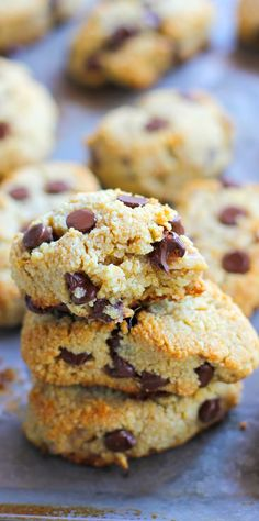 Grain-Free Chocolate Chip Orange Ginger Scones made with almond flour and…