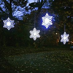 """Mr. Light Solar Individual Hanging LED Snowflake, 6-Inch, Blue/White, Set of 4 by Mr. Light. $149.99. Cloudy - Day Solar! Works even on cloudy days!. Easily hung with included hook from your rain gutter, or roof eave. Includes 3 AA rechargeable batteries & super-efficient solar panel. Cloudy-day solar works even on cloudy days. Includes 3 aa rechargeable batteries and super-efficient solar panel. Set of 4 hanging 6"""" solar led snowflake ornaments with slow, color-changi..."""