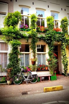 A simple,typical and beautiful apartment front in De Pijp, Amsterdam
