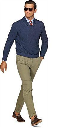 Cotton Cashmere Blend Indigo Cotton Sweater