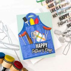 Paper Craft Supplies, Paper Crafts, Bbq Apron, Honey Bee Stamps, Shaped Cards, Unique Cards, Happy Fathers Day, Pattern Paper, A Team