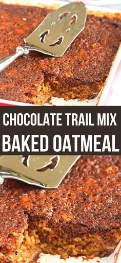 When it comes to make-ahead breakfasts, you can't beat a good baked oatmeal recipe. All of your favorite trail mix ingredients are in this one! 229 calories and 9 Weight Watchers SP | Recipes | Nuts | Oats | Breakfast | Chocolate | Healthy | High Fiber | Vegetarian #breakfastrecipes #bakedoatmeal #trailmix #makeaheadrecipes Make Ahead Meals, Make Ahead Breakfast, Breakfast Recipes, Morning Breakfast, Superfood Recipes, Vegetarian Recipes, Healthy Recipes, Top Recipes, Easy Recipes
