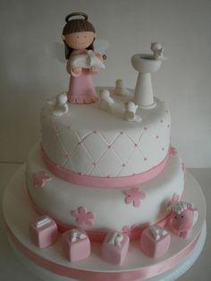 Torta Bautismo | Flickr: Intercambio de fotos Religious Cakes, Cupcakes Decorados, First Communion Party, Angel Cake, Fondant Flowers, Pastry Cake, Cake Shop, Girl Cakes, Pretty Cakes