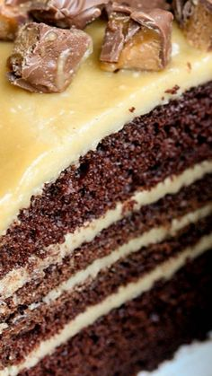 Chocolate Cake with Caramel Frosting ~ A crazy good homemade chocolate cake with an amazing caramel frosting