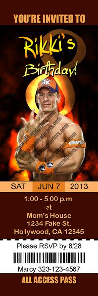 Wrestling birthday party ideas party like a rockstar pinterest wwe john cena invitations filmwisefo
