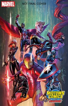 """They says """"Not Final Cover"""". The final/dressed versions of Midtown Comics' Civil War II variants by J. Scott Campbell and Nei Ruffino. Marvel Comics, Marvel Heroes, Marvel Avengers, Cosmic Comics, Comic Book Artists, Comic Artist, Comic Books Art, Marvel Universe, Captain Marvel News"""