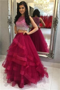 2 Pieces Long Burgundy A-line Zipper Back Beading Beautiful Prom Dresses  Z0536 bd6db1988