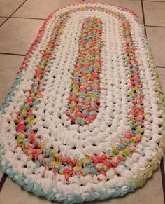 Hand crocheted rag rug made from upcycled sheets on Etsy, $35.00