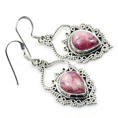 Filigree Style Sterling Silver Rhodochrosite Dangle Earrings  Price : $39.95 http://www.silverplazajewelry.com/Filigree-Sterling-Silver-Rhodochrosite-Earrings/dp/B00IEBEJKE