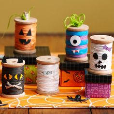 Spindle Monsters. Cute! More easy Halloween Crafts: http://www.bhg.com/halloween/outdoor-decorations/spooky-home-decorations/