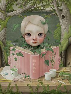 Enredada con la naturaleza y los libros (ilustración de Hsiao Ron Cheng)