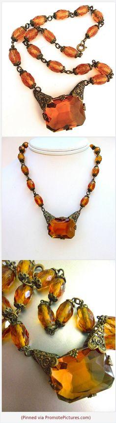 Signed Art Deco Czech Amber Glass Necklace