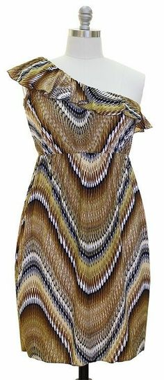 89fb3c4f881 Vibrant Vneck Knee Length Dress Plus Regular Sizes one shoulder brown s      Check out this great product.
