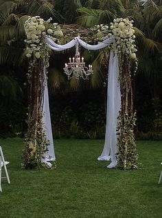 burlap and pink wedding arbor - Google Search