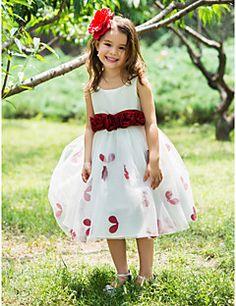 Ball Gown Tea-length Flower Girl Dress - Polyester