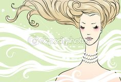 Portrait of a beautiful girl — Stock Illustration #3926755