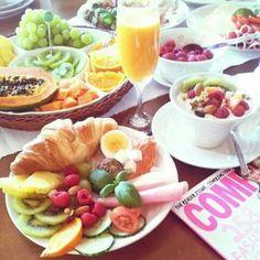 Croissants. Fruit salad. Fruit juice.