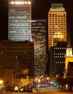 Downtown Tulsa after dark